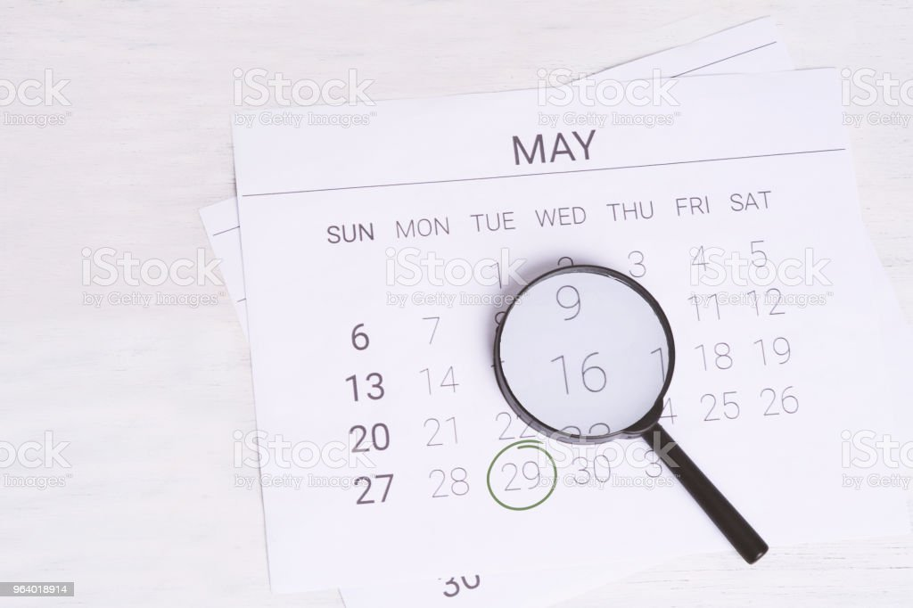 May Calendar with Magnifying glass. - Royalty-free Argentina Stock Photo