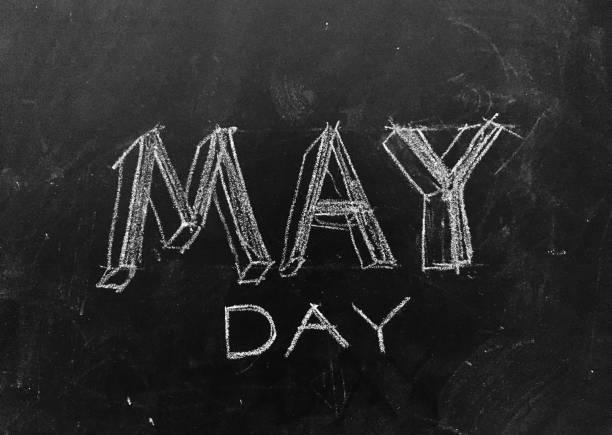 mai jour manuscrite sur tableau noir - 1er mai photos et images de collection