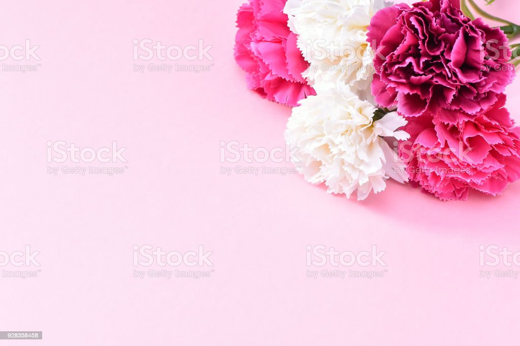 May Mothers Day Carnation Bunch Of Flowers Bouquet Top View Blank ...