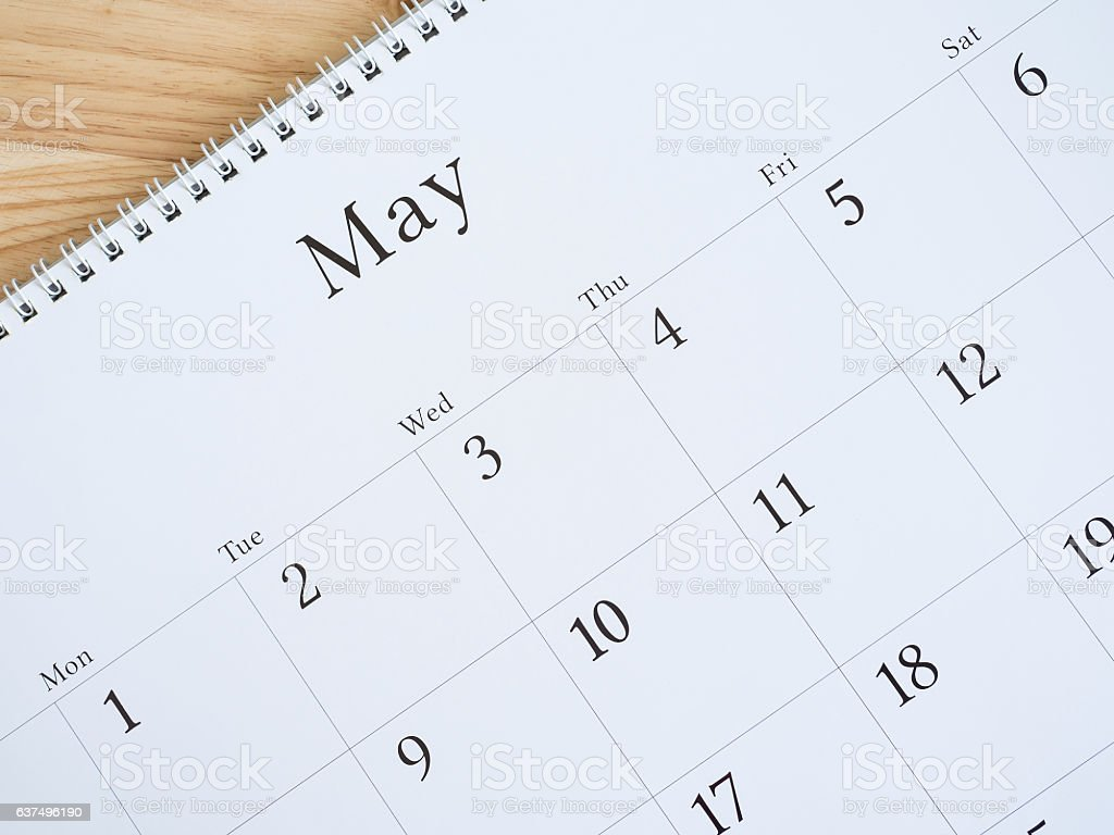 May on white calendar page 2 stock photo