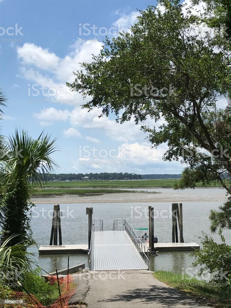 May River Boat Dock, Bluffton South Carolina stock photo