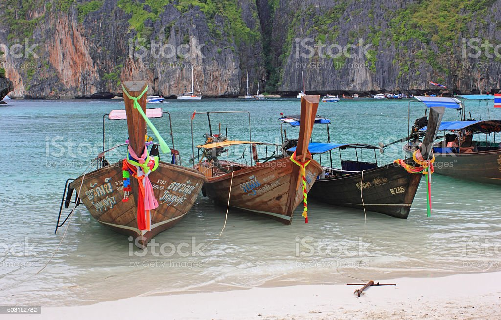Maya Bay, Ko Phi Phi Leh Island, Krabi, Thailand stock photo