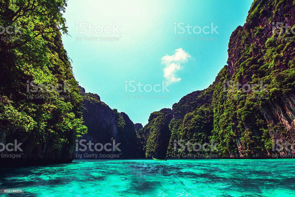 Maya Bay Ko PhiPhi Le in Thailand stock photo