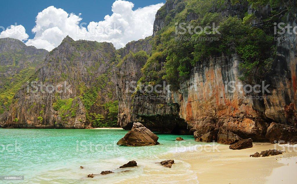 Maya Bay on Ko Phi Phi Le, Thailand stock photo
