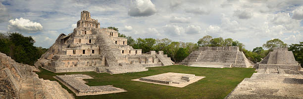 maya edzna complex, the temple five floors. yucatan, campeche, m - uxmal stock photos and pictures