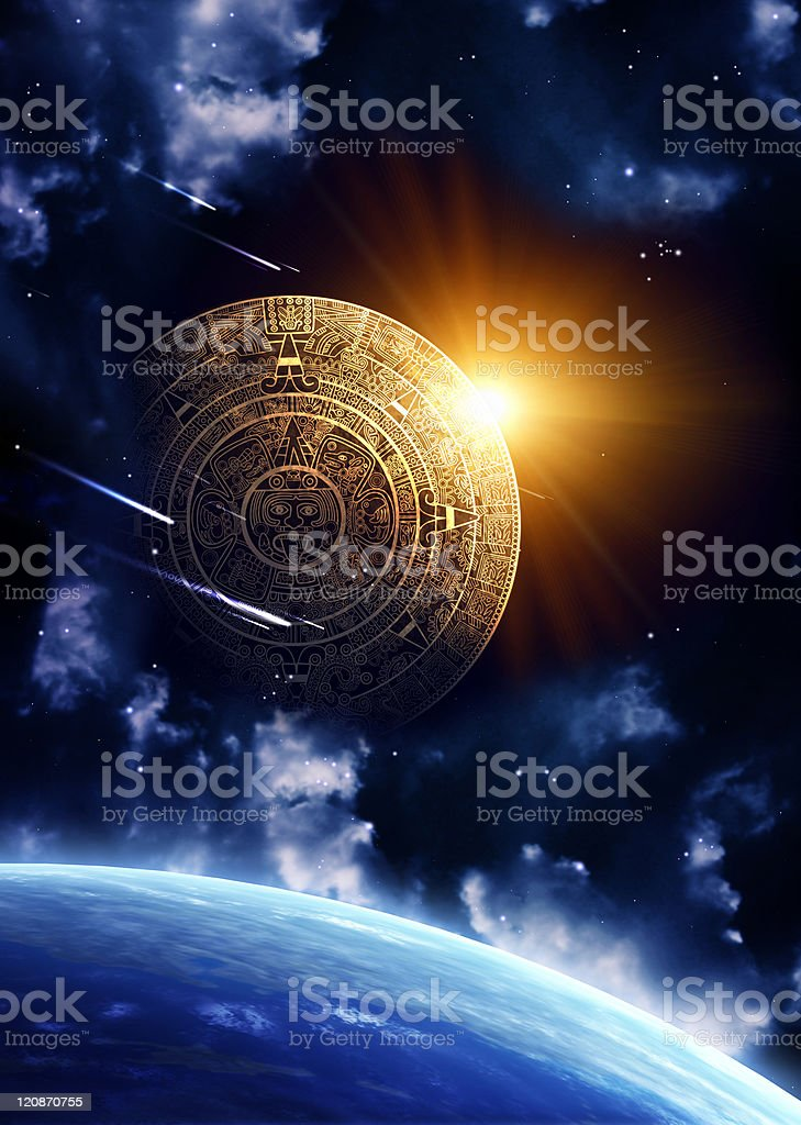 Maya prophecy in the space facing Earth stock photo