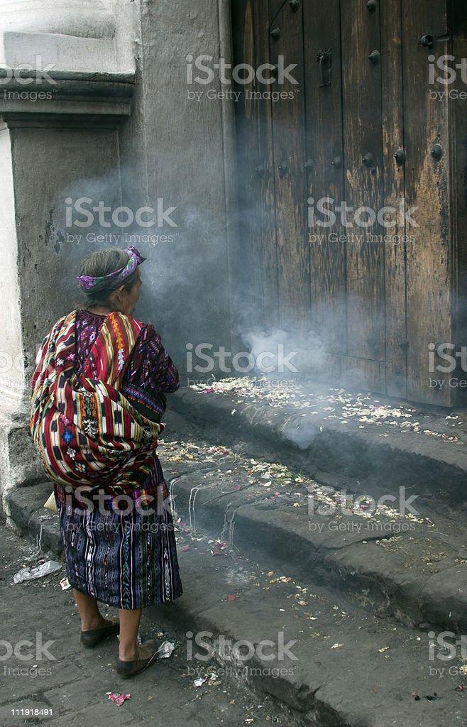 Maya shaman woman Guatemala stock photo