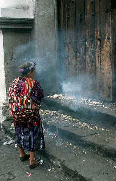 Maya shaman woman Guatemala stock photo
