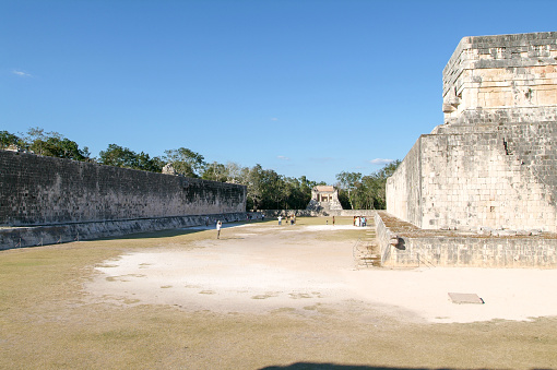 Maya stadium for ball game, juego de Pelota, Chichen-Itza