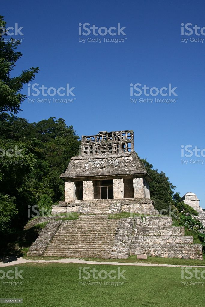 Maya Temple of the Sun Palenque royalty-free stock photo