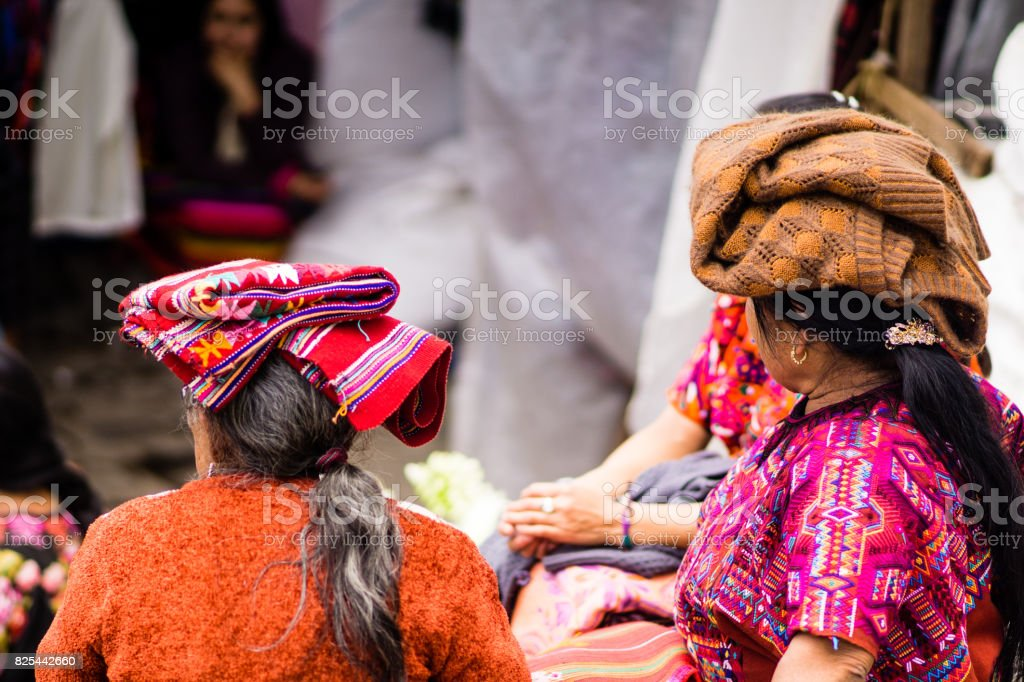 Maya woman on market in chichicastenango - Guatemala stock photo
