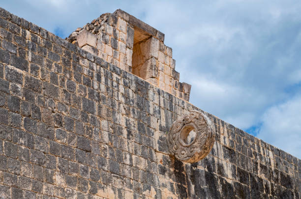 Mayan Ball Court Ring, Chichen Itza, Mexico stock photo