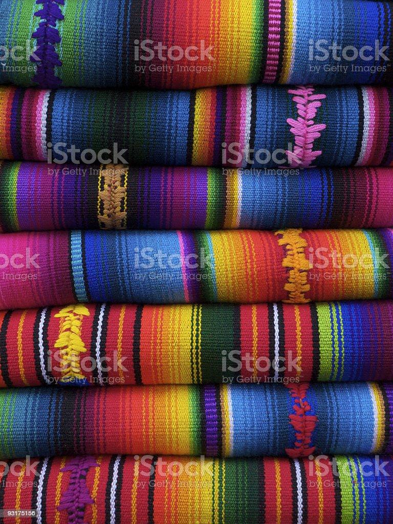 Mayan blankets Chichicastenango Guatemala royalty-free stock photo