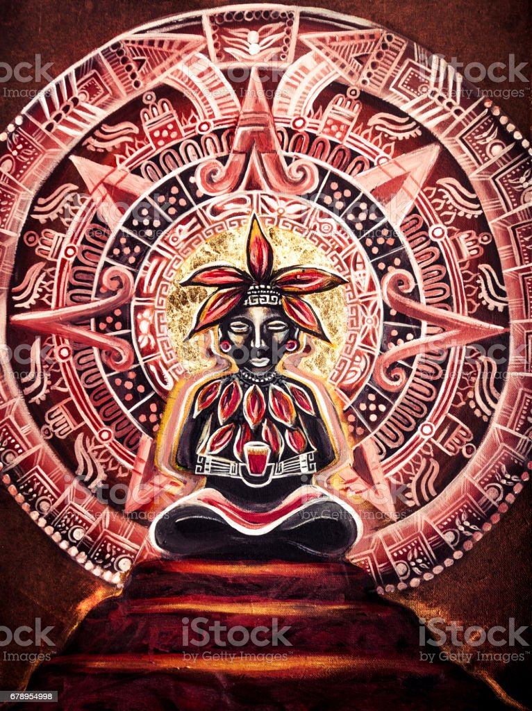Mayan Cacao God Painting Cacao god sitting on a pyramid, with Mayan calendar in the background. Cacao is raw chocolate and can help create a heart opening experience when drinking/eating with intention. Art Stock Photo
