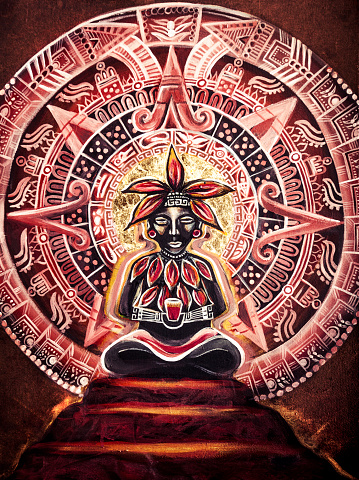 Mayan Cacao God Painting Stock Photo - Download Image Now