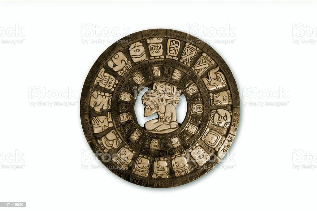 Mayan calendar, isolated stock photo
