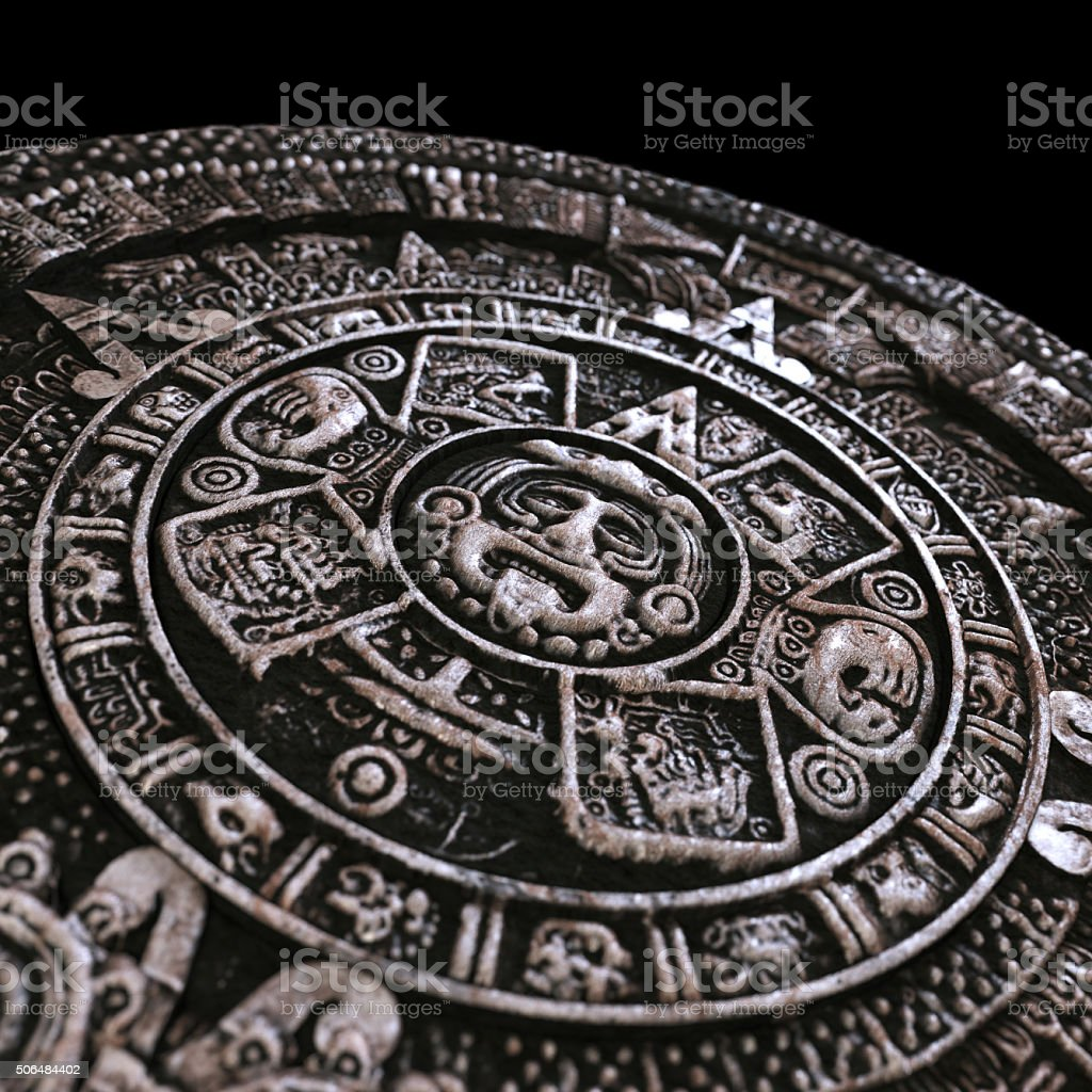 Mayan calendar on black background stock photo