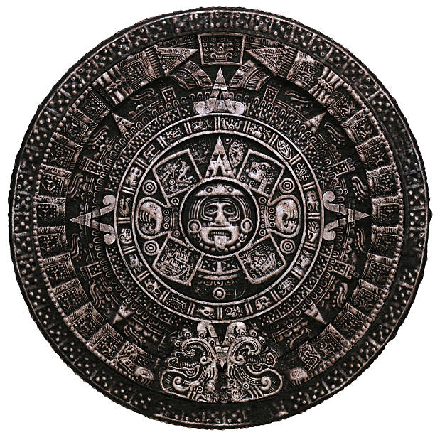 Mayan calendar on white background stock photo