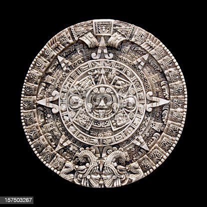 Reproduction of the ancient Aztec Mayan calendar isolated on black. Image taken in Mexico where it was part of an ancient culture.