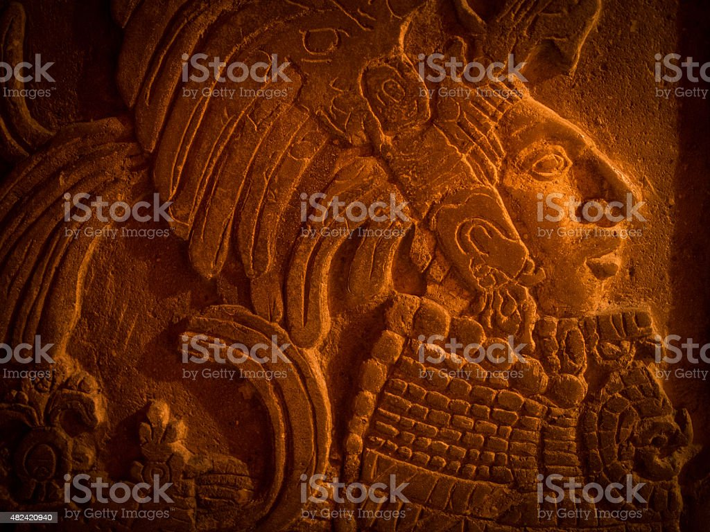 Mayan carving stock photo
