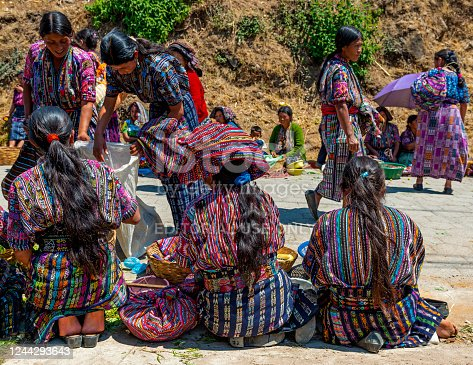 Guatemalan Mayan indigenous women in traditional clothing selling their products on the local market of Solola near Panajachel and the Atitlan Lake.