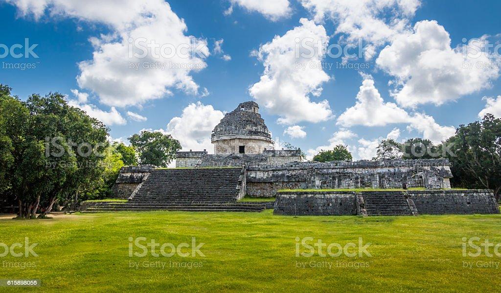 Mayan observatory ruins at Chichen Itza - Yucatan, Mexico stock photo