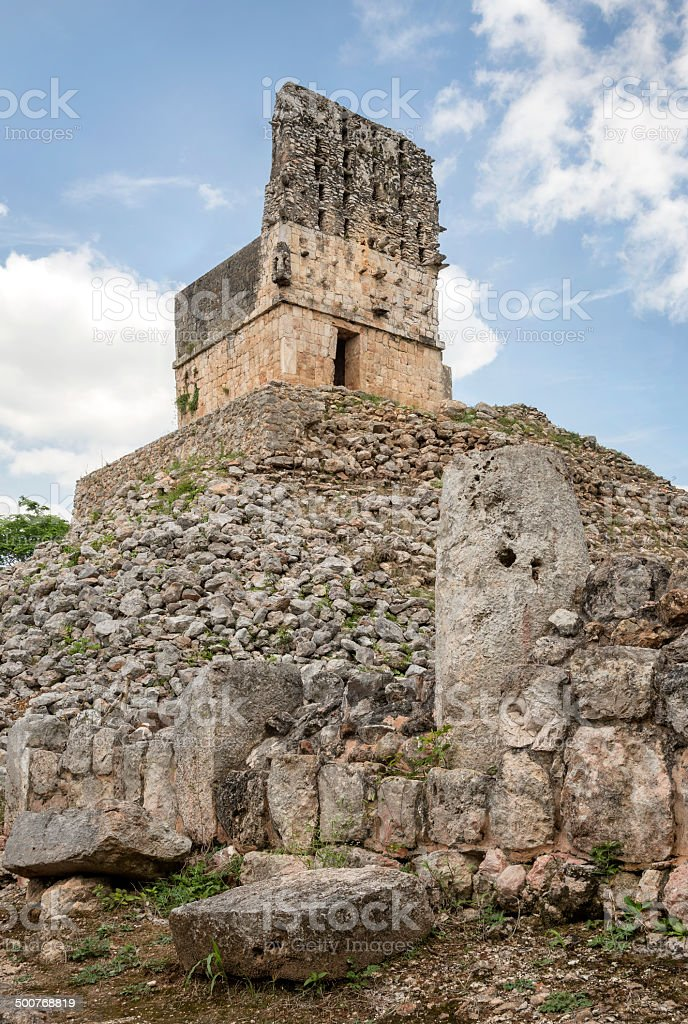 Mayan old observation point ruin stock photo
