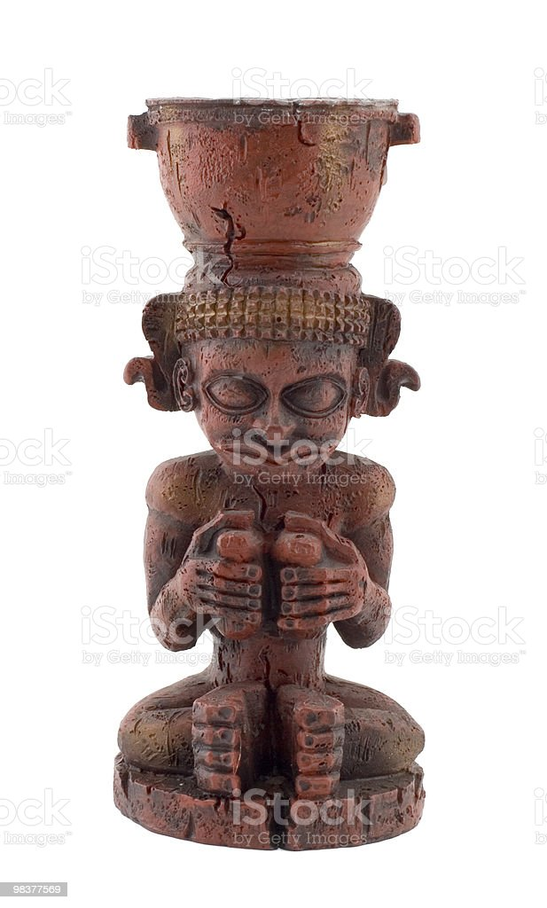 mayan or azteca statue isolated on white background royalty-free stock photo