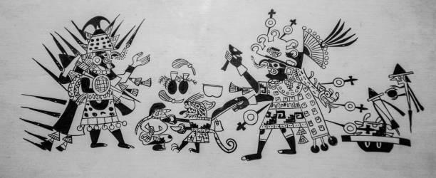 Mayan painting stock photo