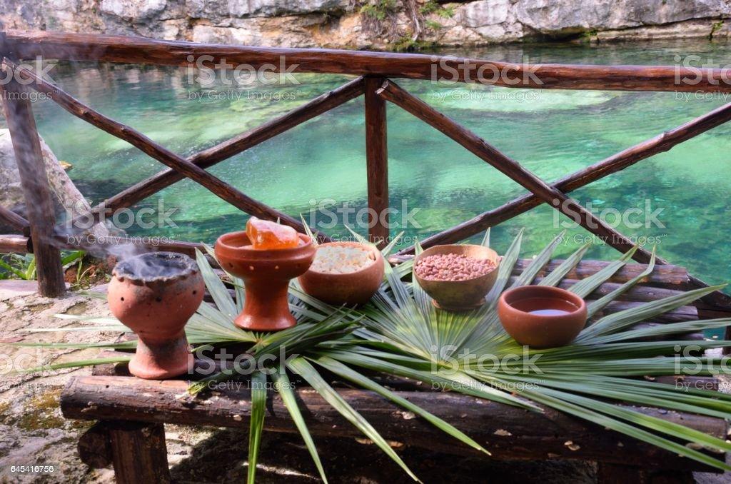 Mayan pots for shaman ceremony stock photo