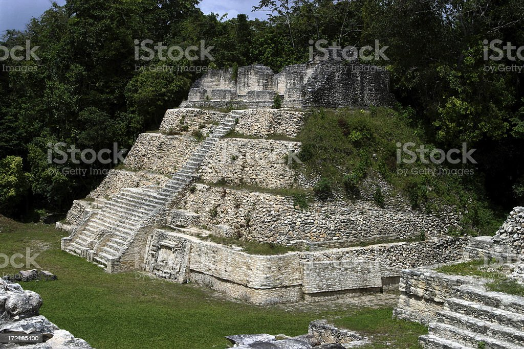 Mayan Pyramid, Caracol, Belize royalty-free stock photo