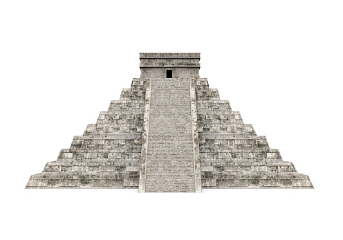 Mayan Pyramid isolated on white background. 3D render