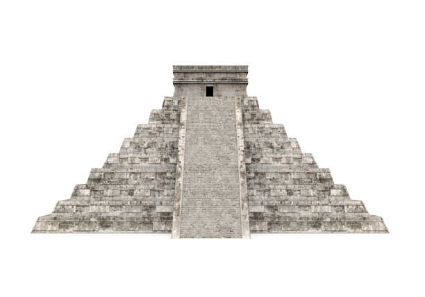 mayan pyramid isolated - pyramid stock photos and pictures