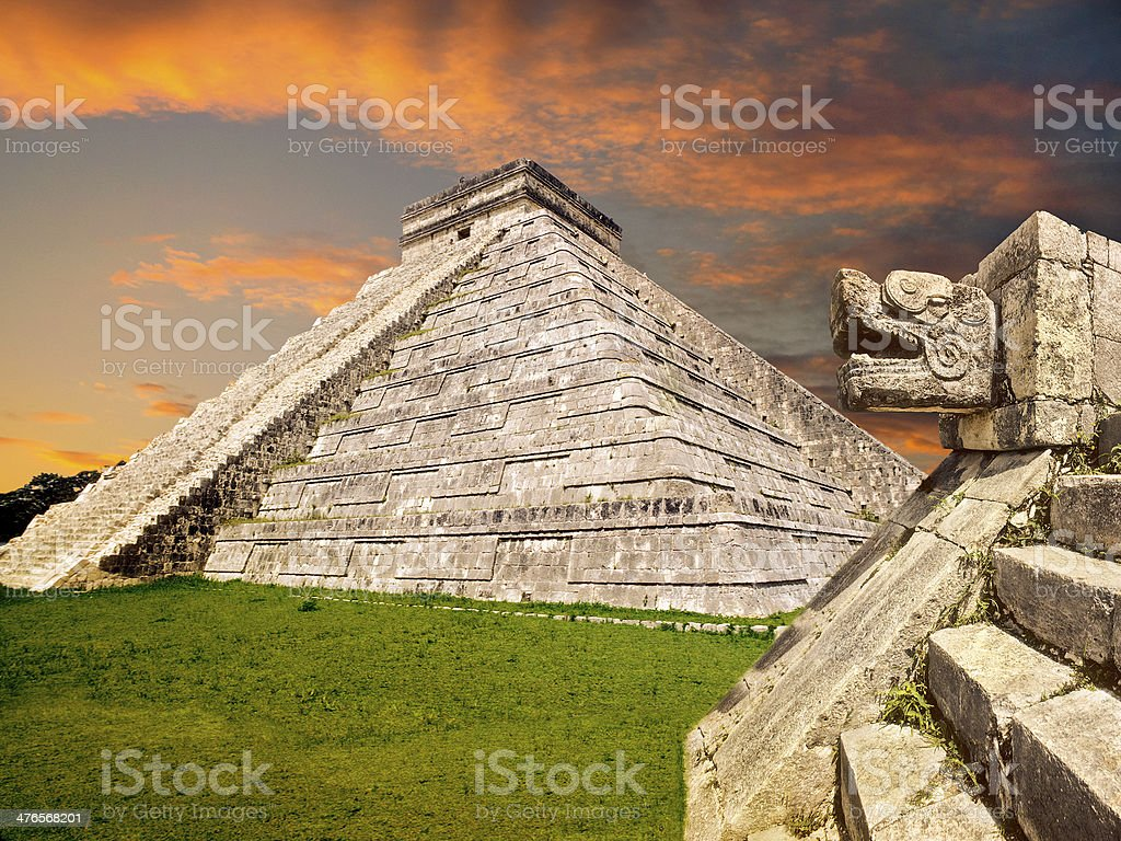 Mayan pyramid, Mexico stock photo