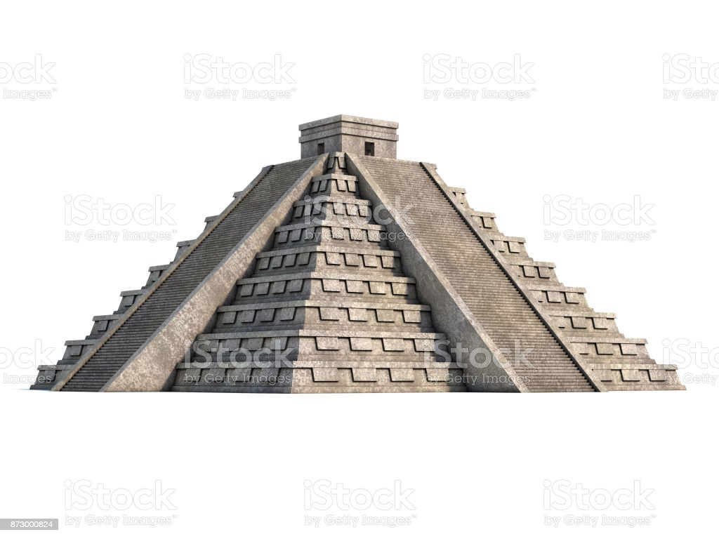 Mayan pyramid  on a white background 3d rendering stock photo