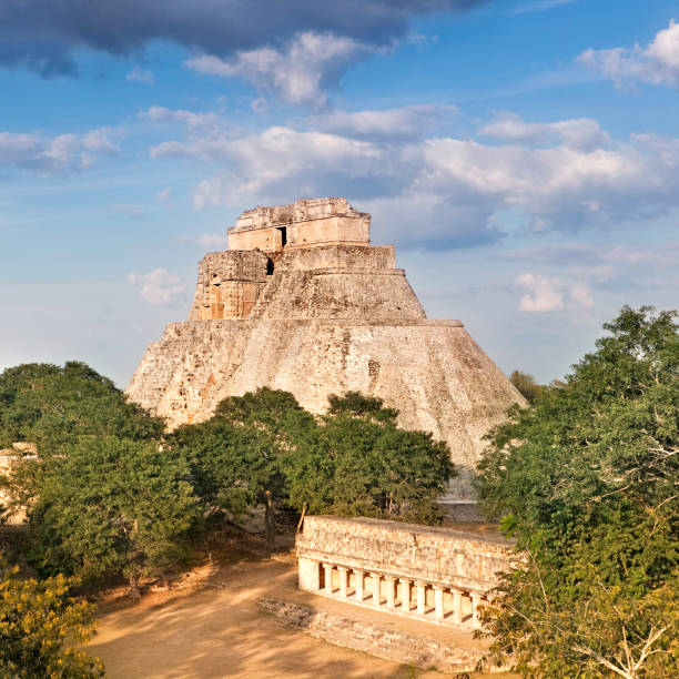 mayan pyramid - uxmal stock photos and pictures