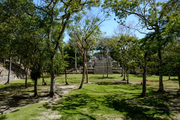 Mayan pyramid ruin at Cahal Pech, Belize stock photo
