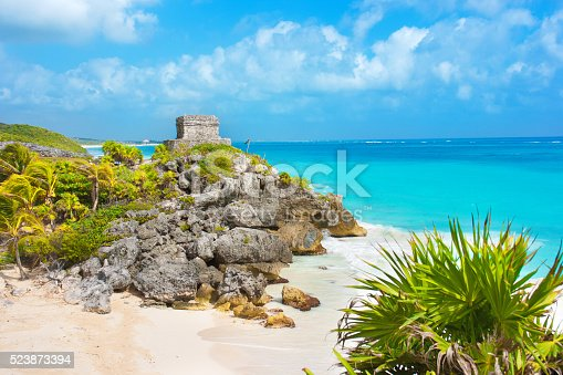 Subject: The Maya ruin of Tulum on the shore of the Caribbean Sea.
