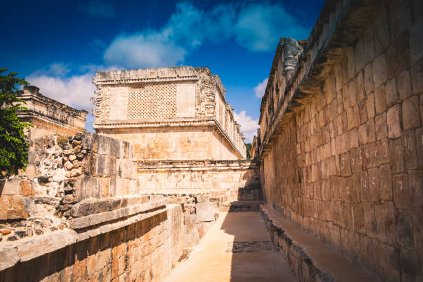 mayan ruin uxmal, mexico - uxmal stock photos and pictures