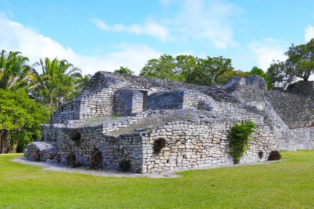 Mayan Ruins at Kohunlich in Mexico stock photo
