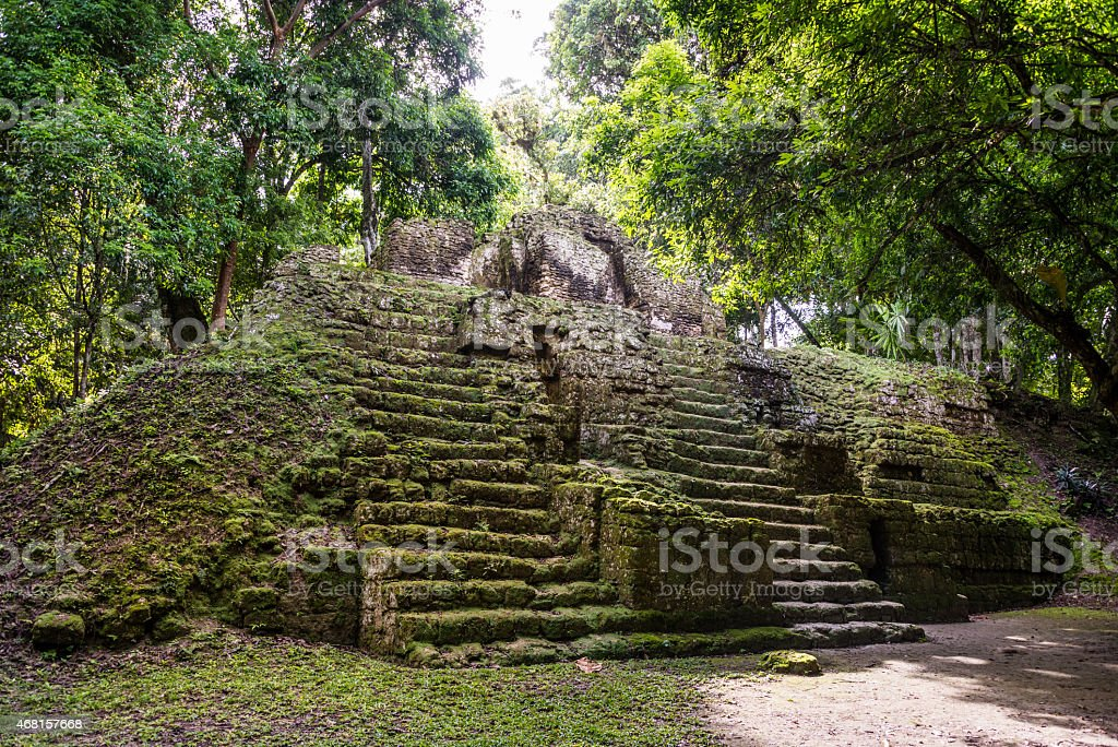 Mayan ruins at Tikal, National Park. Traveling Guatemala. stock photo