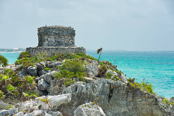 Mayan Ruins at Tulum Rivera Maya Mexico Mayan Ruins at Tulum Rivera Maya Mexico.  Ancient ruins perched along the crystal clear tropical Carribean Sea.  Converted from 14-bit RAW file.  ProPhoto RGB color space. naya rivera stock pictures, royalty-free photos & images