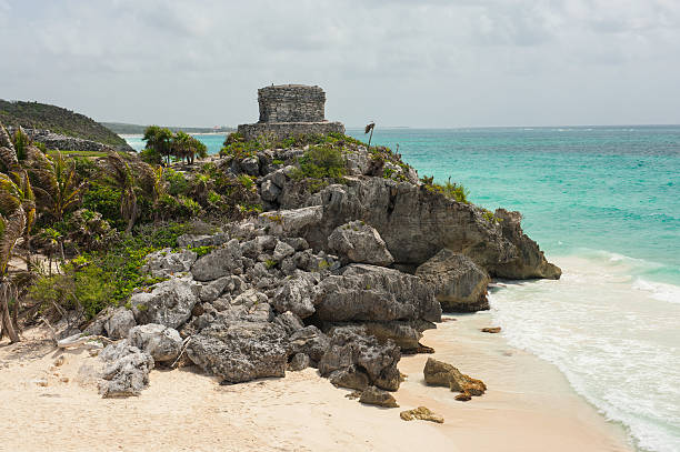 Mayan Ruins at Tulum Rivera Maya Mexico Mayan Ruins at Tulum Rivera Maya Mexico.  Ancient ruins perched along the crystal clear tropical Caribbean Sea.  Converted from 14-bit RAW file.  ProPhoto RGB color space. naya rivera stock pictures, royalty-free photos & images