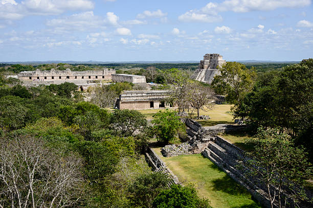 mayan ruins of uxmal, yucatan, mexico -xxxl - uxmal stock photos and pictures