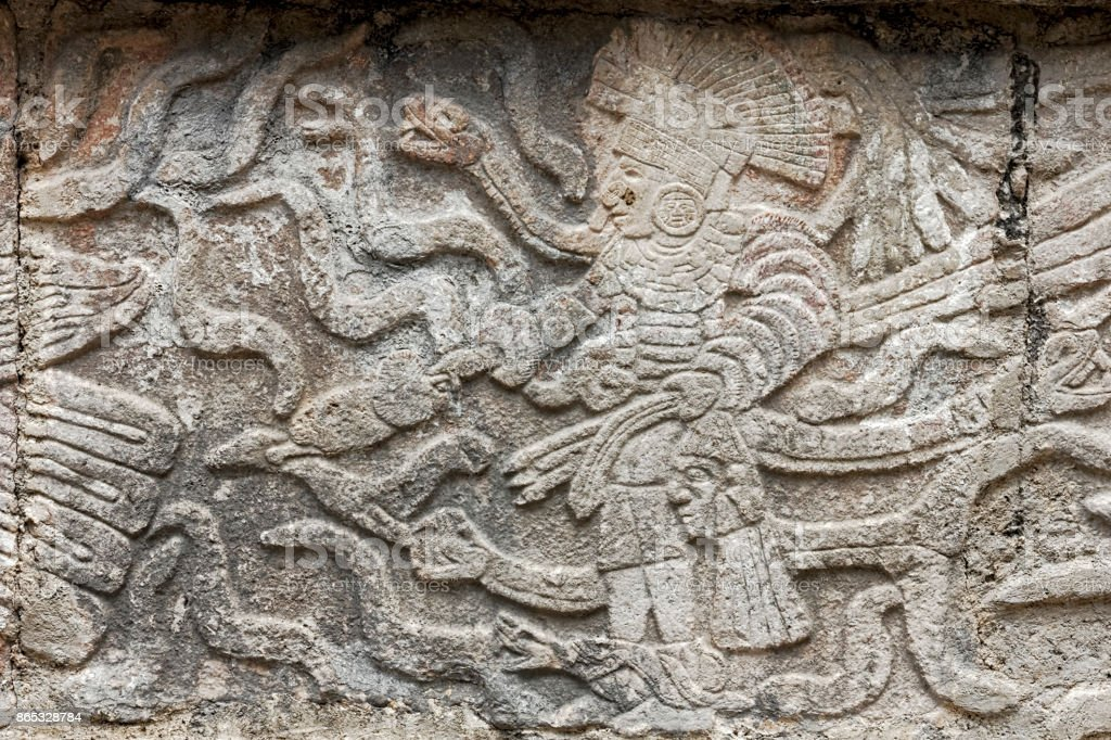 Mayan stone carving of a king stock photo