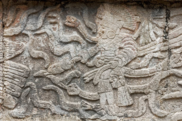mayan stone carving of a king - uxmal stock photos and pictures
