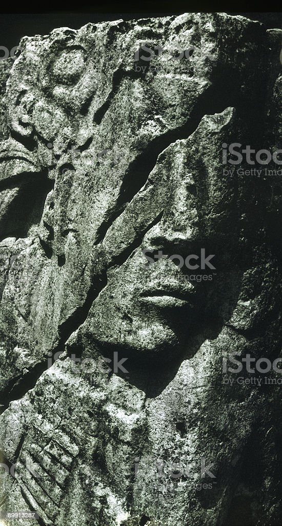Mayan Stone Head in 3/4 View, Palenque, Yucatan, Mexico royalty-free stock photo