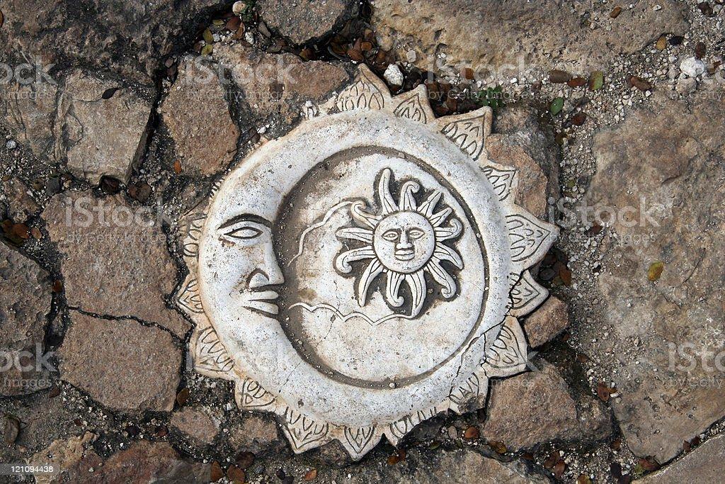 Mayan Sun and Moon Artwork royalty-free stock photo