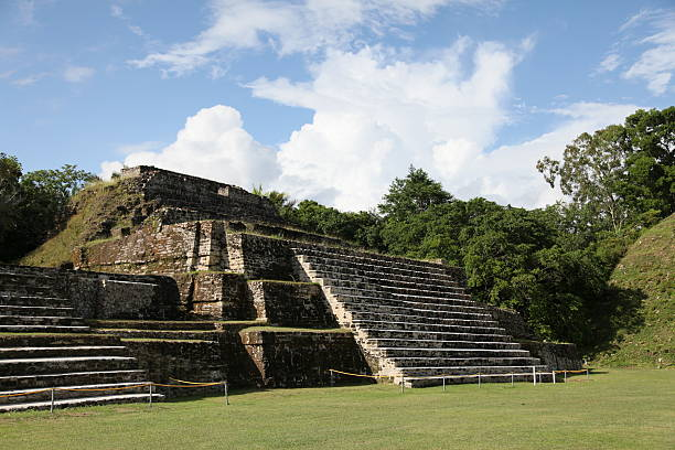 Mayan Temple at Altun Ha in Belize stock photo