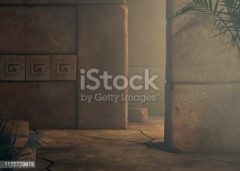 Adventure 3D render of a mysterious mayan temple background.